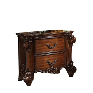 Traditional Style Wooden Nightstand with Two Drawers, Cherry Brown
