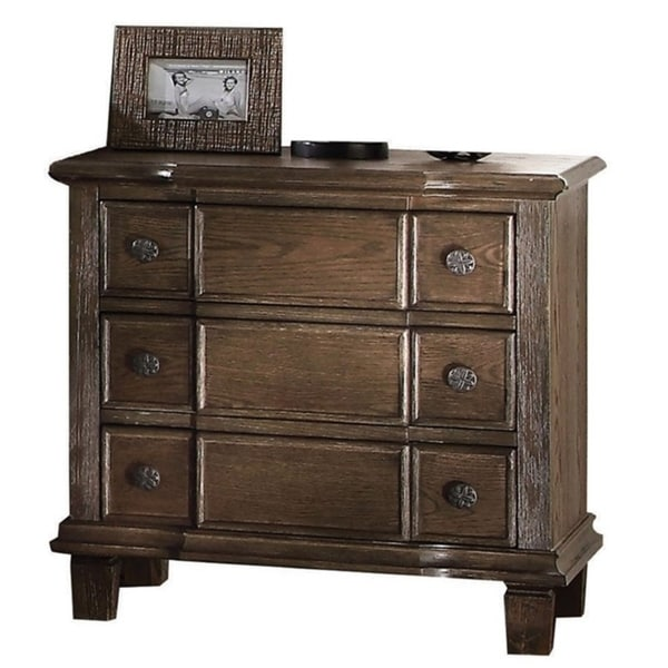 Three Drawer Nightstand With Round Knobs Side Metal Glide In Weathered Oak Finish