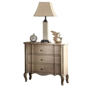 Three Drawer Nightstand With Scalloped Bottom Edge & Cabriole Leg, Antique Taupe
