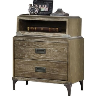 Transitional Style Wood and Metal Nightstand with 2 Drawers, Oak Brown