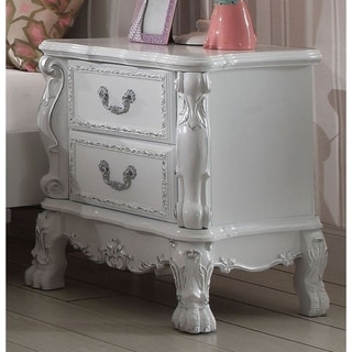Wooden Two Drawer Nightstand With Motif Engraved Feet, Antique White