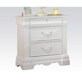Three Drawer Nightstand With One Hidden Top Drawer And Scalloped Feet, White