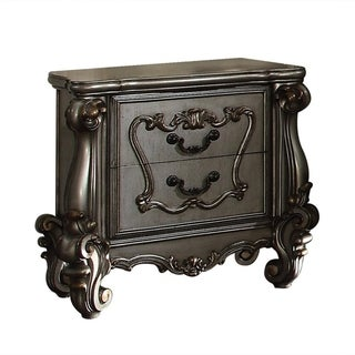 Two Drawer Nightstand With Oversized Scrolled Legs In Antique Platinum Finish