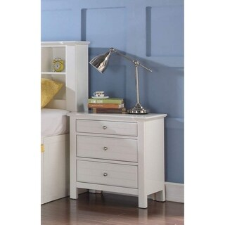 Three Drawer Nightstand With Silver Metal Pull Out Knobs, White