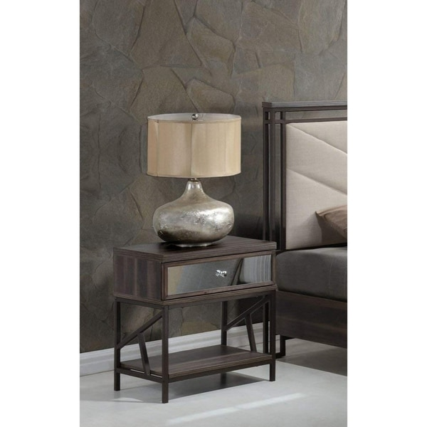 Shop Wood Amp Metal Nightstand With Mirrored Front Drawer Walnut Brown Amp Black Free