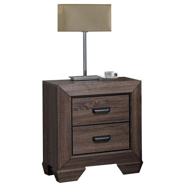 Two Drawer Nightstand With Scalloped Feet In Weathered Gray Grain Finish