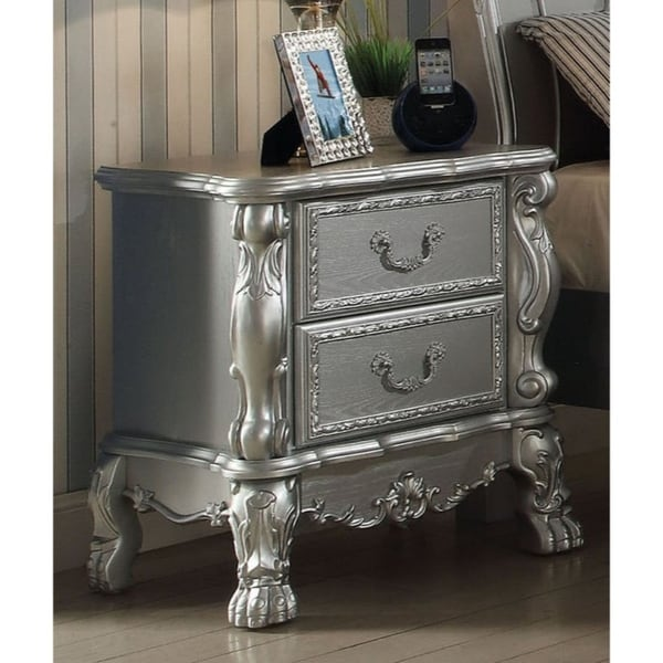 Wooden Two Drawer Nightstand With Motif Engraved Feet, Silver