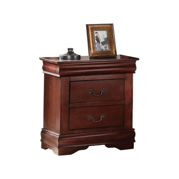 Wooden Nightstand with Two Drawers, Cherry Brown