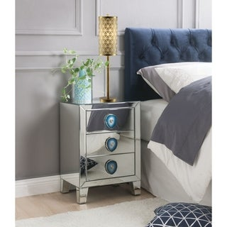 Wood & Mirror Nightstand with Faux Agate Knob, Silver