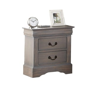 Wooden Two Drawer Nightstand In Antique Gray Finish