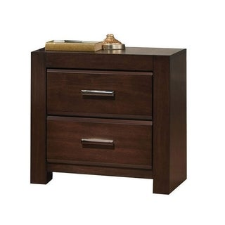 Wooden Two Drawer Nightstand In Walnut Finish