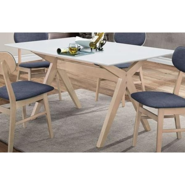 White And Brown Dining Table: Shop Rectangular Wooden Dining Table With Trestle Base