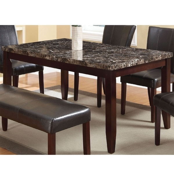 Very Elegant Marble Top Dining Table Shop Contemporary Wooden Dining Table with Faux Marble Top, Brown - On Sale  - Free Shipping Today - Overstock - 25688074
