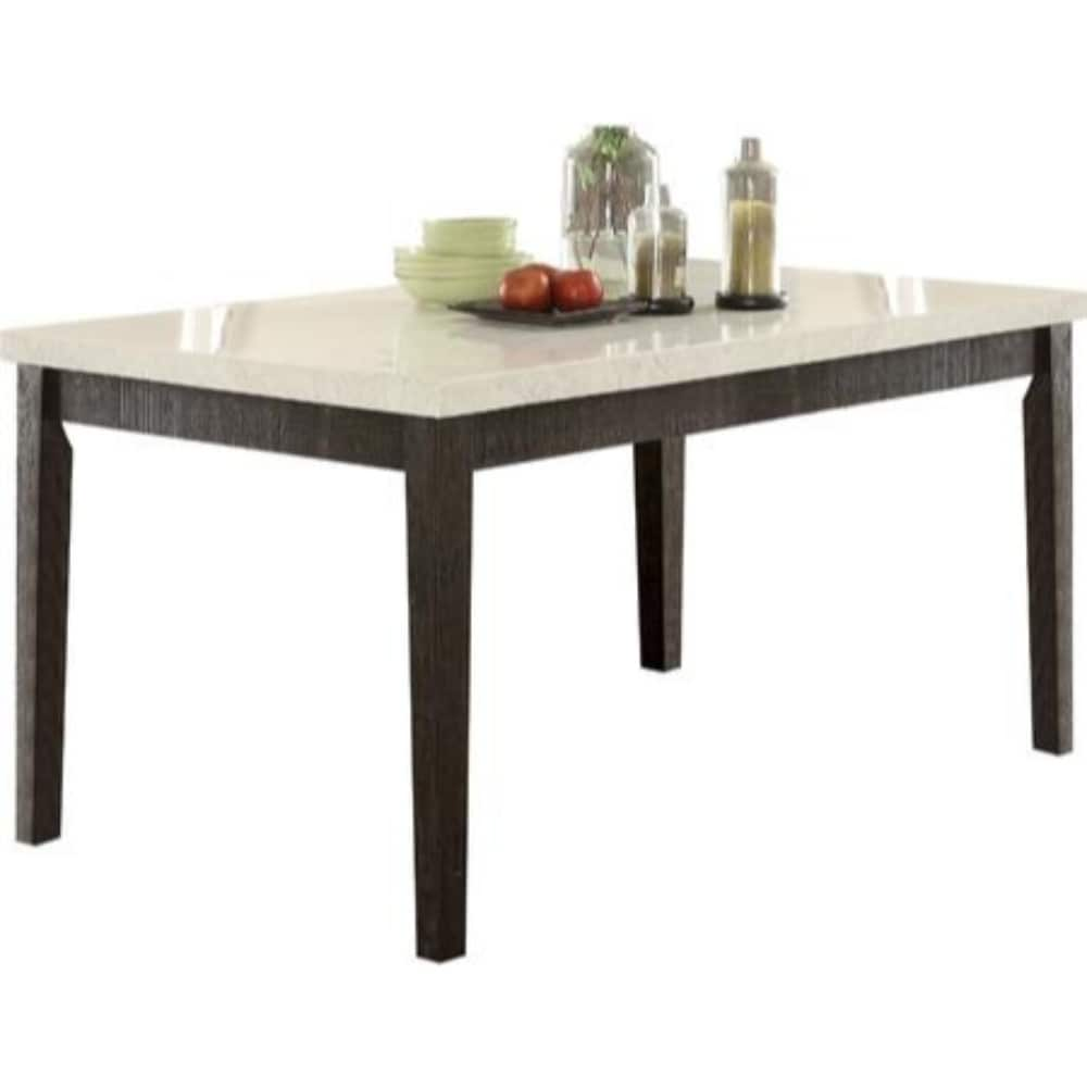 Rectangular Wooden Dining Table With Marble Top White And Dark Oak Brown Overstock 25688092
