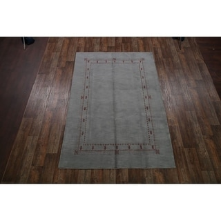 """Gabbeh Indian Oriental Hand Knotted Wool Area Rug Tribal Carpet - 9'10"""" x 6'4"""""""