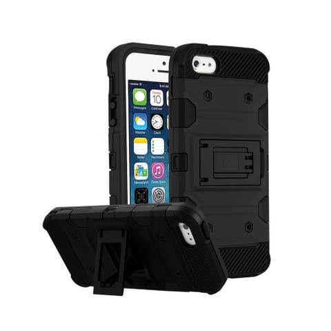 Insten Storm Tank Dual Layer Hybrid Stand PC/TPU Rubber Case Cover for Apple iPhone 5/5S/SE