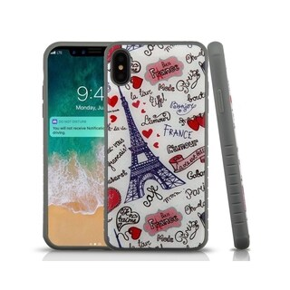 Insten Multi-Color Eiffel Tower Love Fusion Hard Snap-on Dual Layer Hybrid Case Cover For Apple iPhone XS Max
