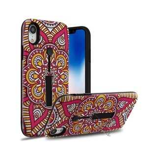 Insten Red Mandala Blossom Finger Grip Hard Snap-on Dual Layer Hybrid Case Cover with Stand For Apple iPhone XR