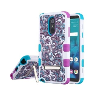 Insten Multi-Color European Flowers Hard Snap-on Dual Layer Hybrid Case Cover with Stand For LG Stylo 4/Stylo 4 Plus