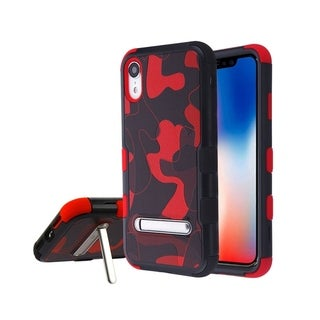 Insten Black/Red Camouflage Hard Snap-on Dual Layer Hybrid Case Cover with Stand For Apple iPhone XR