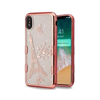 Insten Rose Gold Eiffel Tower Tuff Glitter Hard Snap-on Dual Layer Hybrid Electroplating Case Cover For Apple iPhone XS Max