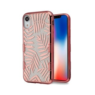 Insten Rose Gold Dancing Palm Leaves Tuff Glitter Hard Snap-on Dual Layer Hybrid Electroplating Case Cover For Apple iPhone XR