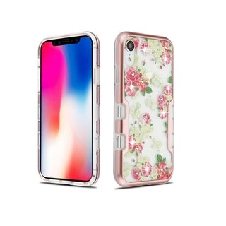 Insten Rose Gold Clear European Tuff Panoview Hard Snap-on Dual Layer Hybrid Metal Case Cover For Apple iPhone XR