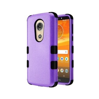 Insten Purple/Black Tuff Textured Hard Snap-on Dual Layer Hybrid Case Cover For Motorola Moto E5 Plus/E5 Supra