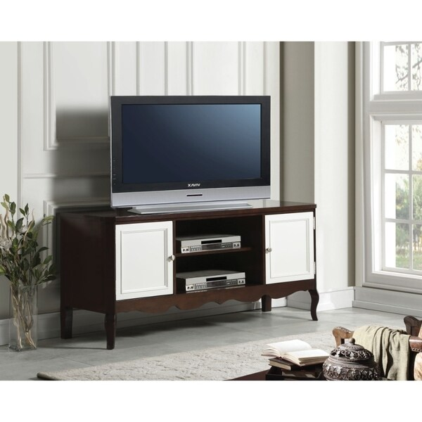Shop Transitional Style Wooden Tv Stand With Two Side Door Cabinets