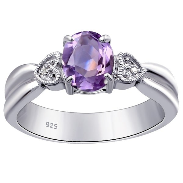 1.14 Carat Amethyst /& White Topaz 3 Stone Sterling Silver Ring for Women by Orchid Jewelry
