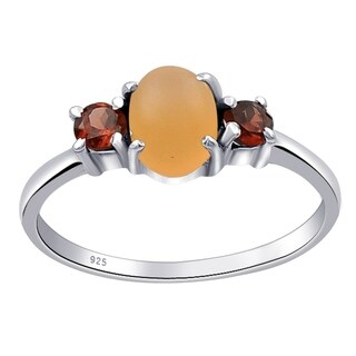 Sterling Silver 1.40 Carat Orange Moonstone & Garnet Engagement Ring