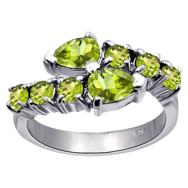 6069bbe27b38a Shop Sterling Silver 1.4Ct Green Peridot Engagement Ring By Essence ...