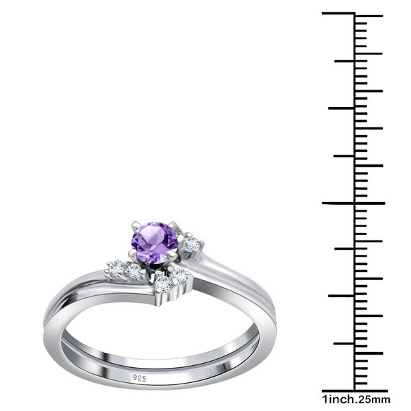 Natural African Amethyst /& White Topaz 925 Sterling Silver Engagement Ring