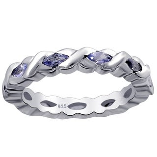 Sterling Silver 0.77 Carat Iolite Eternity Band Ring For Women