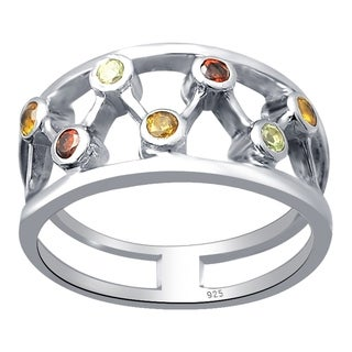 Sterling Silver 0.35 Ct. Garnet, Citrine & Peridot Zig-Zag Engagement Ring