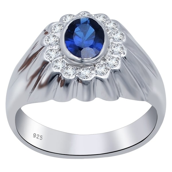 0.50 CTW CZ Blue Topaz Oval  Solitaire Proposal  Ring in White Gold