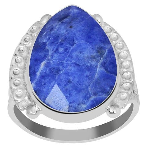 Sodalite Sterling Silver Pear Anniversary Ring by Essence Jewelry