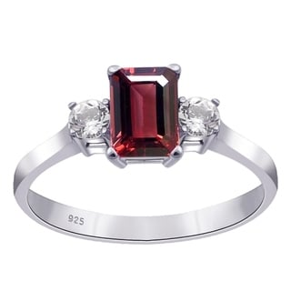 1 55 CTW Garnet White Topaz 925 Sterling Silver Engagement Ring