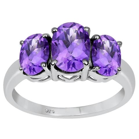 Amethyst Sterling Silver Oval 3-Stone Ring by Essence Jewelry