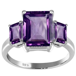 Essence Jewelry Emerald-Cut Amethyst 3-Stone Sterling Silver Ring