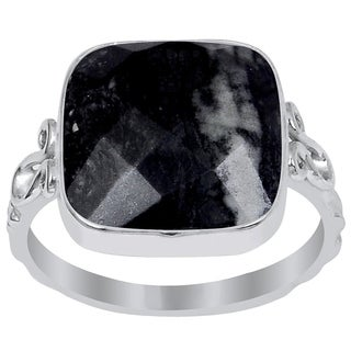 Essence Jewelry 9 2/5 Carat Picasso Jasper 925 Sterling Silver Ring