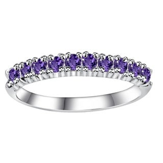 Essence Jewelry Sterling Silver 0 40 Ct Amethyst Semi Eternity Band Ring