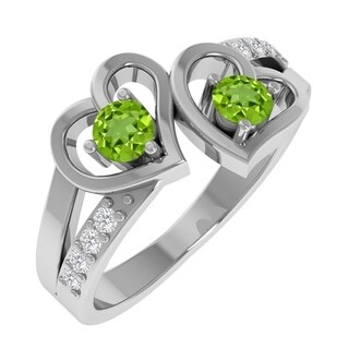 Essence Jewelry Mother's Day Gift Sterling Silver Peridot Birthstone & Topaz Heart Shaped Ring