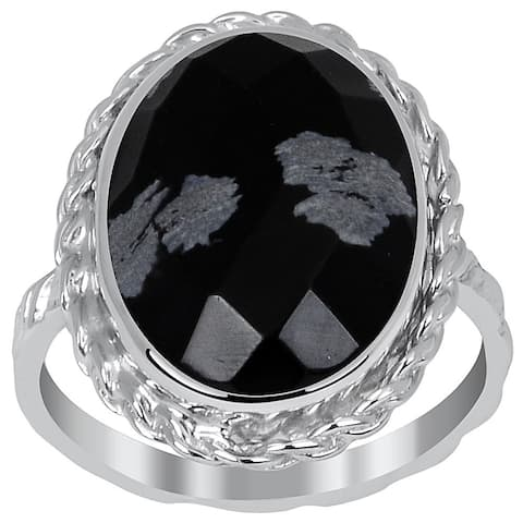 Essence Jewelry 6.1 Ct Snowflake Obsidian Sterling Silver Twisted Ring