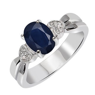 Natural Gemstone 1 5 Carat Blue Sapphire Accent Stone Diamond Sterling Silver Rings