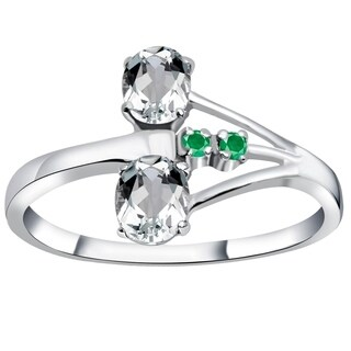 Essence Jewelry 925 Sterling Silver 1.14 Ct Cubic Zirconia & Emerald Anniversary Ring