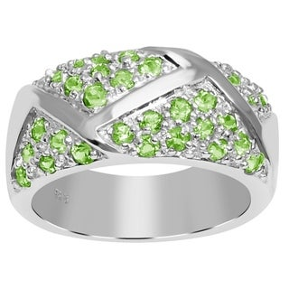 Essence Jewelry 925 Sterling Silver 1 3/5 Carat Peridot Engagement Band Ring