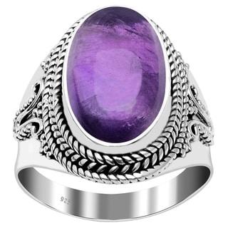 Handmade Glorious Oval Gemstone Bali Sterling Silver Ring Best For Women