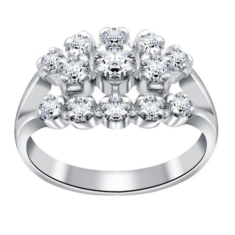 Cubic Zirconia Sterling Silver Round Cocktail Ring by Essence Jewelry