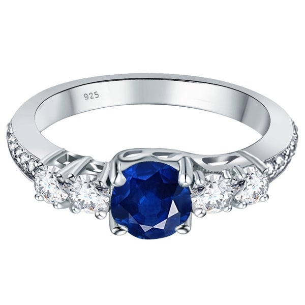 SALE Charming 925 Sterling Silver Halo Design Sapphire /& White Topaz  Ring Sz6